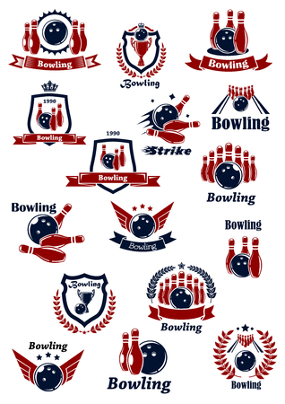 Bowling club or tournament icons and symbols design in red and blue colors with balls, ninepins, strikes and trophy cups on lanes. Adorned by wreaths, shields, ribbon banners, stars, crowns and wings