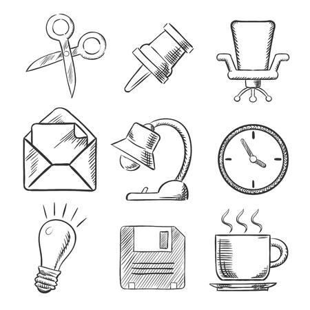 tack: Office sketched icons with a thumb tack, scissors, chair, mail, lamp, clock, lightbulb and cup of tea. For web and business design usage, sketch style