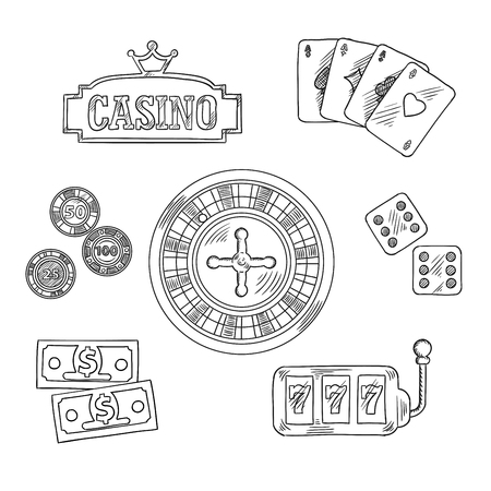 sketched icons: Casino sketched icons and symbols of roulette wheel, dice, playing cards, gambling chips, dollar bills, casino sign board with golden crown and slot machine with triple seven. Sketch style illustration