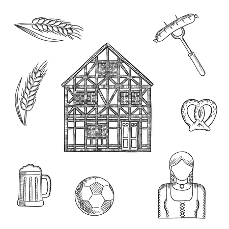 costume ball: Bavaria travel and tourism sketched icons with beer mug, grilled sausage, pretzel, football ball, woman in national costume, barley and traditional german half-timbered building. Sketch style Illustration