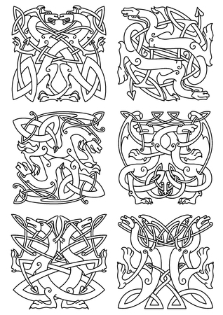 celtic: Celtic animal knot ornaments of mythical dragons or beasts with curved wings and tails, arranged in tribal pattern. Use as tattoo, coat of arms or emblem design
