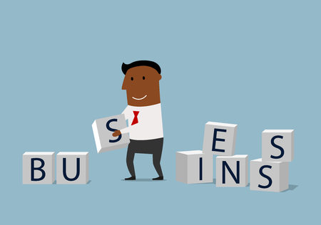 enthusiastic: Enthusiastic businessman composing word Business from pile of alphabet block cubes. Concept of building your business Illustration