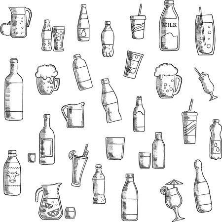 glass water: Beverages, cocktails and drinks flat icons of wine and beer, vodka and water, soda and juice, milk and champagne bottles, beer tankards and cocktail glasses,  lemonade and milk jugs, takeaway paper cups