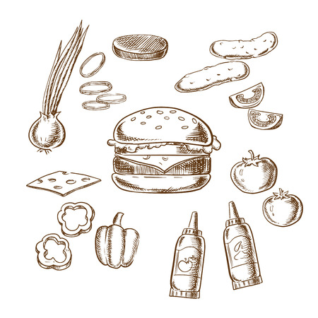 patty: Sketch of tasty burger with tomato, pepper, onion, beef patty, cucumber, mustard, ketchup and cheese ingredients Illustration