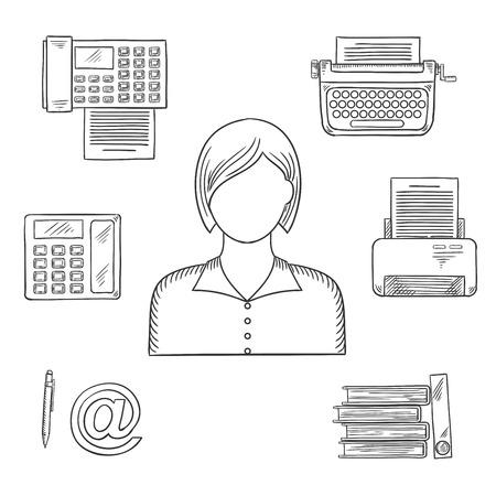 secretaria: Secretario profesión bosquejó iconos con teléfono, fax, carpetas con documentos, la pluma, la impresora, el correo, la máquina de escribir y elegante joven Vectores