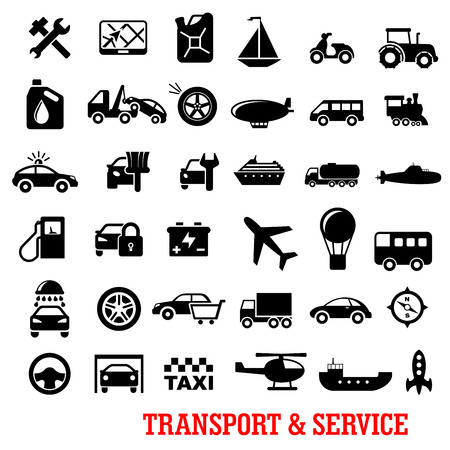 car icons: Transportation and car service black flat icons with car, truck, wheel, train, buses, ships, repair, motorcycle, airplane, helicopter, oil, taxi, tire, balloon, sale, wash, tow, sailboat, fuel station, traffic police, submarine, rocket, navigation, airshi Illustration