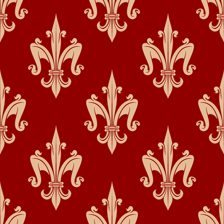 fleurdelis: Seamless french fleur-de-lis floral pattern with beige leaf scrolls on red background. For heraldic backdrop or interior background design