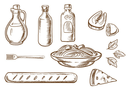 Disegno schizzo Pasta italiana con spaghetti italiani, salsa e basilico circondati da bottiglie di olio d'oliva, pomodoro e senape salse, forchetta, formaggio, pane ciabatta e salmone con limone. Sketch stile