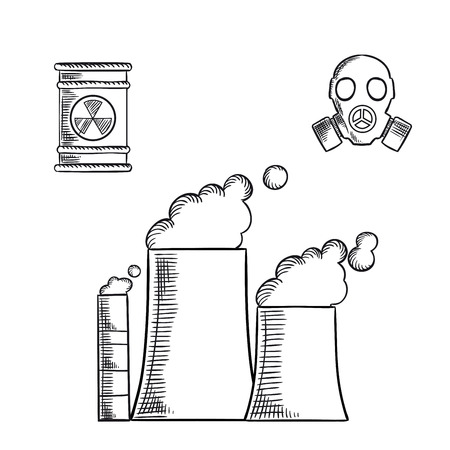 chemical hazard: Destruction and environment pollution sketch icons with fuming chimneys and industrial pipes of chemical or power plant, radioactive waste with hazard sign and gas mask