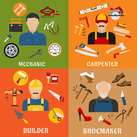 cobbler: Construction and service industry professions flat icons with professional builder, carpenter, auto mechanic and shoemaker with tools, equipments and machinery