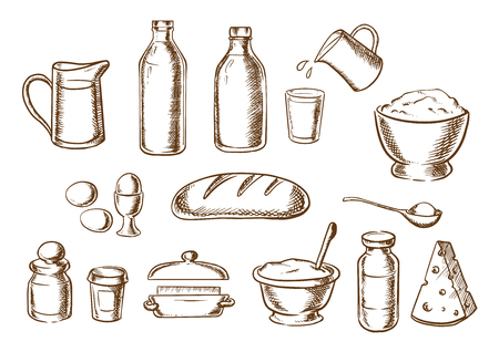 cartoon board: Bakery ingredients with butter, flour, salt, dough, sugar milk, eggs, cheese around a loaf of white bread. Sketch icons