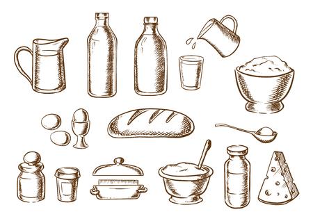 cocina caricatura: Ingredientes de la panader�a con la mantequilla, la harina, la sal, la pasta, az�car de la leche, huevos, queso alrededor de una barra de pan blanco. iconos del bosquejo