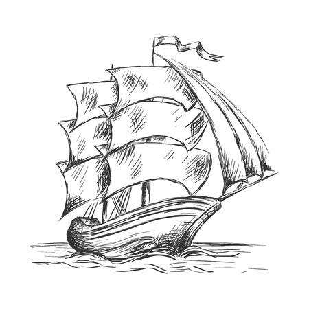 barque: Marine sketch of old ship under full sails with flag on mast. Marine adventure or nautical theme design