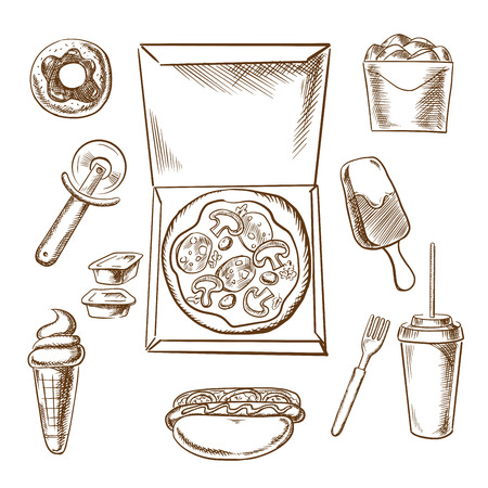 condiments: Takeaway food sketch icons with an overhead view a pizza in a box surrounded by a pastry wheel, hot dog, donut, ice cream, chicken, condiments and soda drink