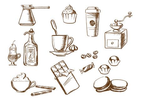 Café bosquejó iconos con la taza de café en el platillo con los granos de café y los dulces con los helados, pasteles, capuchino, licor, comida para llevar taza, chocolate, molinillo de café de la vendimia y la olla de cobre. el estilo de dibujo Ilustración de vector