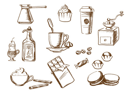 Coffee sketched icons with cup of coffee on saucer with coffee beans and candies with ice cream, cakes, cappuccino, liquor, takeaway cup, chocolate, vintage coffee grinder and copper pot. Sketch style Illustration
