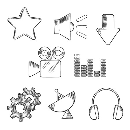 sketched icons: Media and sound sketched icons set with satellite, sound, movie, gears, audio, star and download elements. Sketch style objects