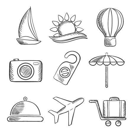 bagagli: Set di viaggi e del turismo abbozzato le icone con uno yacht, mongolfiera, sole tropicale, macchina fotografica, ombrellone, cibo, aereo. bagagli e un cartello non disturbare. Sketch style