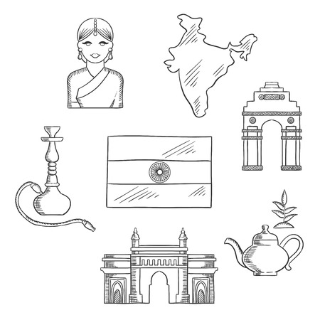 and gate: India culture and travel concept with sketched icons of gate way, arch, woman in a sari, national flag, pot of tea and a hookah pipe Illustration