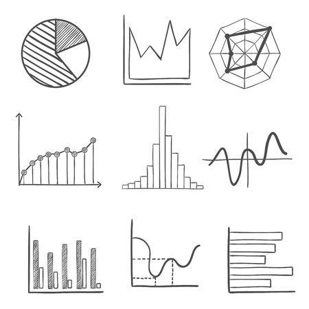business report: Sketched graphs and charts with a pie graph, bar graphs, fluctuating charts and infographics. For business design usage, sketch style