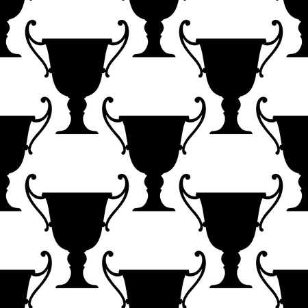 handles: Sport trophy cups seamless pattern with black ornate bowls with handles
