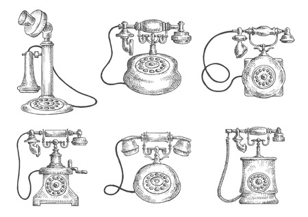 rotary dial: Vintage rotary dial telephones isolated icons, sketch style objects. For telecommunication or retro concept design