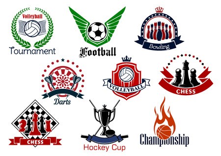 championship: Sport game icons and symbols with trophies and heraldic design elements. Soccer or football, bowling, volleyball, hockey, basketball, chess and darts sport emblems Illustration