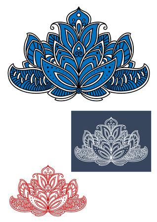 indische muster: Blaue und weiße indische Paisley-Blume, die von geschnitzten Verzierung mit traditionellen Schnörkel und Locken geschmückt. Isoliert auf weiß Illustration