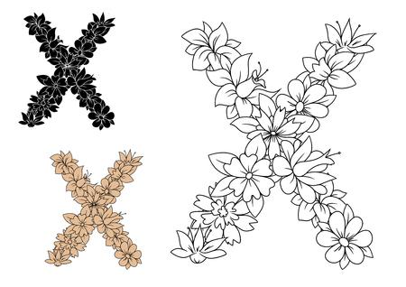 petites fleurs: Décoratif cru police floral alphabet lettre minuscule x composé de fleurs et de tiges feuillées Illustration
