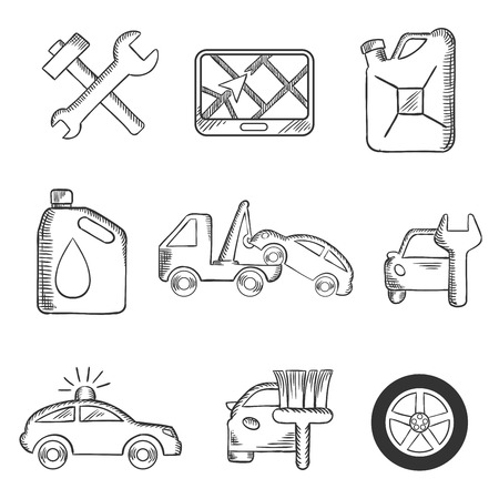 car navigation: Car service sketch icons including tools, road sign, oil and petrol containers, tow truck, wheel, tyre, jerry can, police, car wash and garage