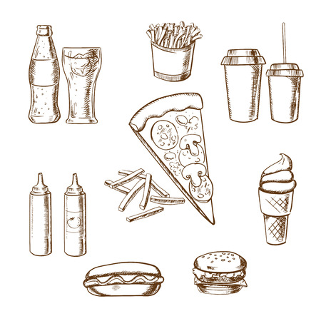 sandwich restaurant: Fast food sketches with pizza and french fries surrounded by a cheeseburger, coffee, soda, potato chips, hot dog, ice cream cone and condiments