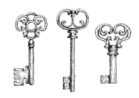 Schets van geïsoleerde middeleeuwse deur sleutels of skeletten met sier bogen, versierd met gesmede krullen en krullen.