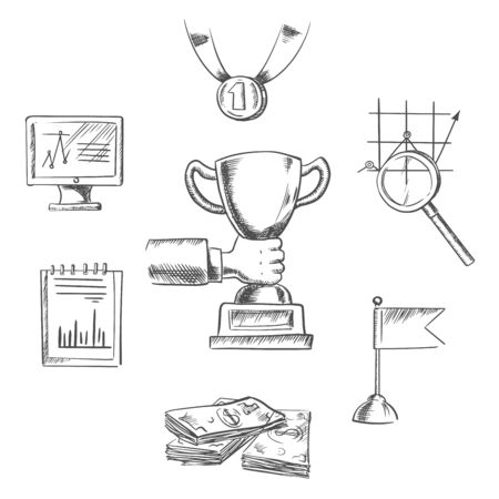 creative money: Business, achievement, management, creative and success sketch icons with human hand, trophy cup, flag, money, chart, notebook, monitor, medal and magnifying glass symbols