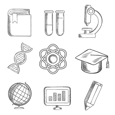 sketch book: Education and science sketch icons with globe, dna, atom, book, flasks and tubes, microscope, pencil, computer and academic cap