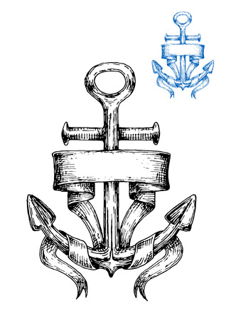 ancre marine: Vintage marine anchor wrapped with blank ribbon banner, sketch style. May be use for nautical symbol or navy heraldry design