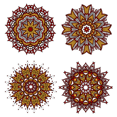 curlicues: Bright red circular ornament with floral motif of yellow pointed petals, adorned by wavy lines, curlicues and swirls. Interior textile, tile and carpet pattern design usage