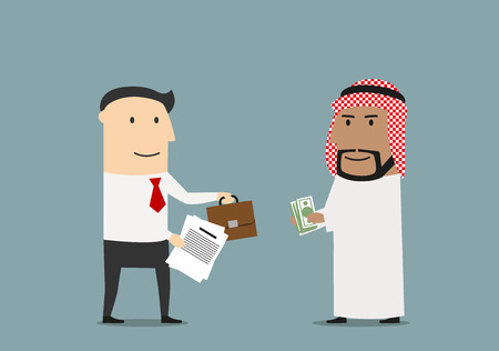 international business agreement: Cheerful cartoon arabian and european businessmen are exchanging money, part of business and briefcase after signing of contracts. International agreement and partnership concept usage