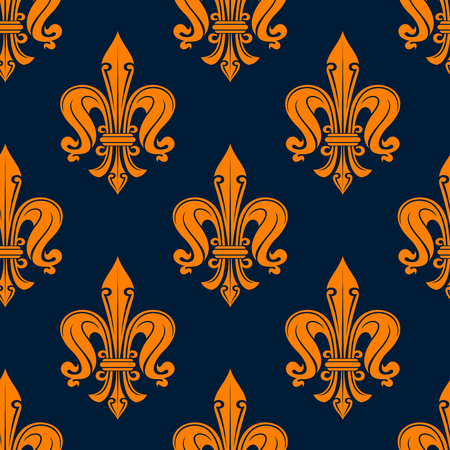 victorian wallpaper: Seamless victorian floral pattern of orange fleur-de-lis lily flowers with curly ornament on blue background. For wallpaper or textile design