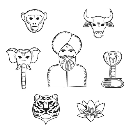 hand drawn flower: Indian nature and national symbols in sketch style with indian man in turban with holy cow, elephant, cobra, monkey, lotus, tiger. For travel design usage Illustration