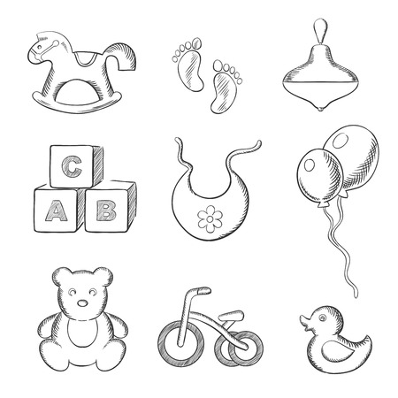spinning top: Baby sketched icons with rocking horse, duck, spinning top, abc blocks, bib, balloons, tricycle and footprints. Sketch style