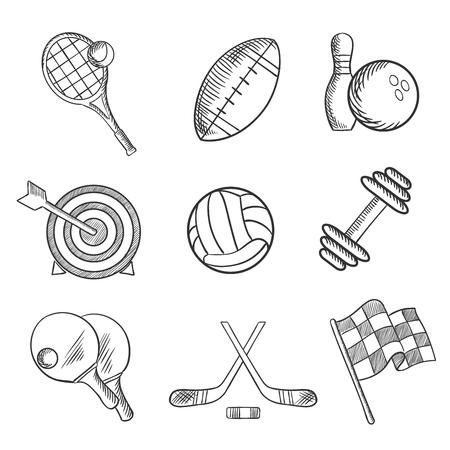 competencia: Iconos del deporte con el tenis, f�tbol, ??bolos, tiro con arco, hockey, automovilismo, levantamiento de pesas, tenis de mesa, rugby y art�culos voleibol. Boceto de estilo