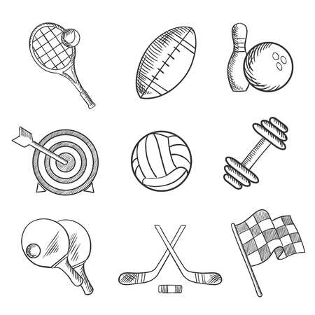 sketch: Sport icons with tennis, football, bowling, archery, hockey, motor racing, weight lifting, table tennis, rugby and volleyball items. Sketch style