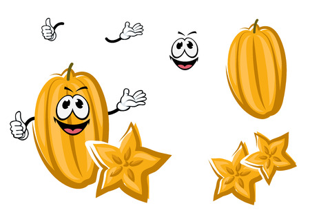 fruit cartoon: Ripe yellow cartoon tropical carambola fruit with star shape slice and happy smiling face. Healthy dessert recipe or menu design Illustration