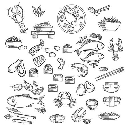 Mariscos y charcutería esbozadas iconos de sushi, caviar, cangrejo, camarones, langostas, ostras, mejillones, pulpo, palillo, filete de salmón, pescados a la plancha y ensalada de camarones, sopa de pescado, verduras y hierbas. la cocina del estilo del bosquejo