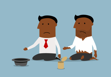 beggar: Cartoon bankrupt black businessman is sitting near dirty beggar man and asking for money. Bankruptcy, financial crisis, poverty concept design Illustration