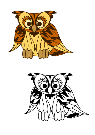 curly tail: Wild forest yellow owl with curly brown feathers on the wings and tail. Cartoon and colorless bird for mascot, emblem of Halloween decoration