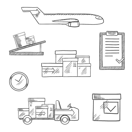 air cargo: Air cargo and logistics business sketch icons of airplane, conveyor, cardboard boxes with packaging symbols, airport truck, clock and clip board with order list with caption Aviation below