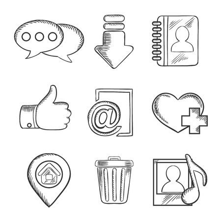 email icons: Multimedia and social media sketched icons with chat, download, notebook, like, e-mail, navigation, favorite, media and bin symbols