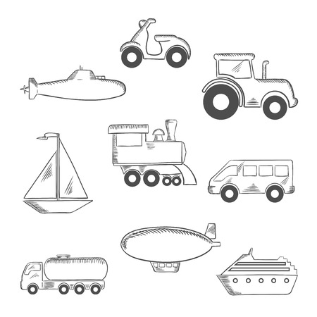 sketched icons: Transport sketched icons with a submarine, yacht, scooter, tractor, blimp, van, train, ship and tank car. Sketch style icons