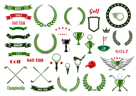 golf field: Golf and golfing sport design elements with balls and crossed clubs, green area with hole and flag, trophy cup, laurel wreaths and star frame, heraldic shield and ribbon banners, crown and wings